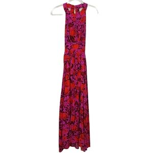 Abel The Label ATL Purple Floral Halter Maxi Dress